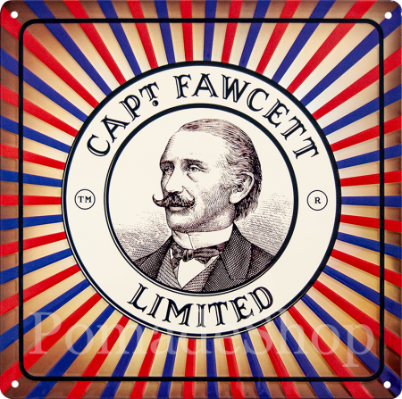 Captain Fawcett's Tin Plate Sign