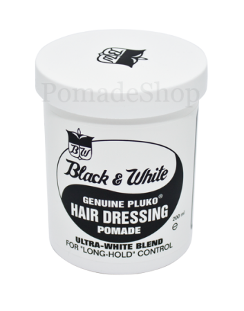Black and White Hair Dressing Pomade groß